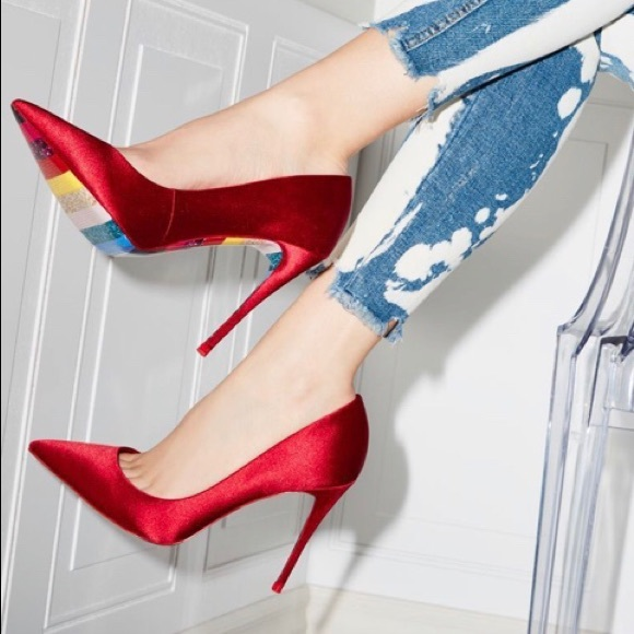 ALDO red satin pointed toe heels